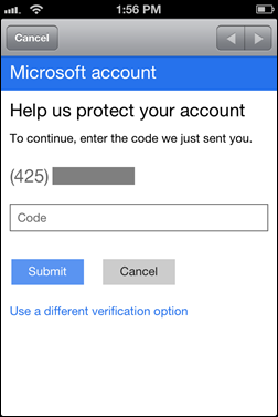 Microsoft 2-step authentication