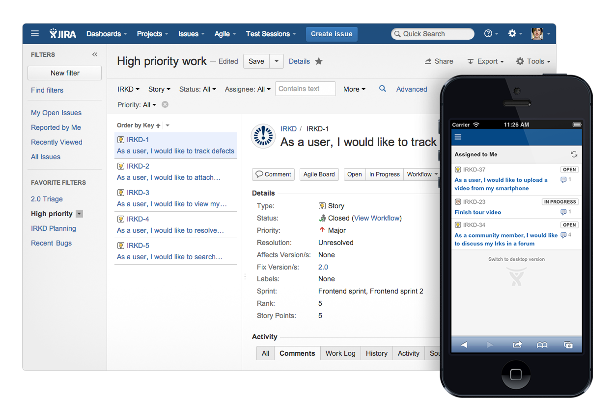 JIRA's new user interface and mobile view