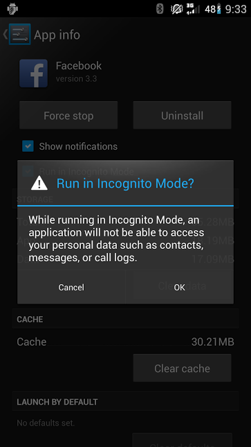 Incognito mode screenshot