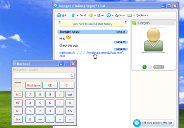 Skype chat window with calculator
