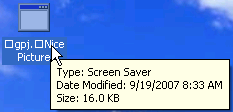 XP desktop displays full file name