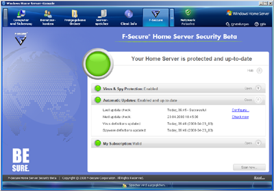 F-Secure's antivirus solution seamlessly connects to the Windows Home Server console.