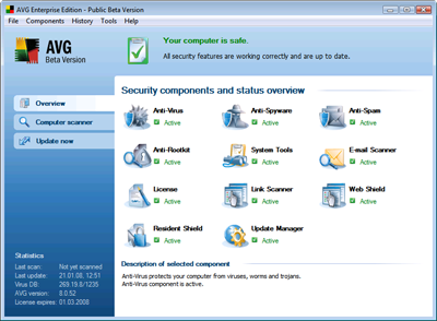 AVG 8 has a new user interface