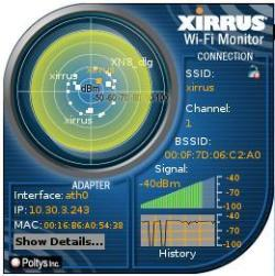 The Xirrus Wifi desklet in closed gadget form
