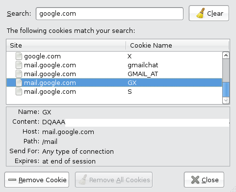 Google Mail cookie