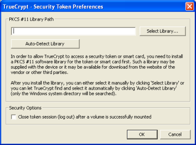 TrueCrypt uses PKCS #11 to allow security cards and tokens to work