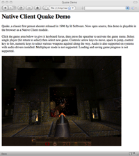 Quake, at the power of Google Native Client
