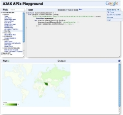 An example of the AJAX API Playground map output