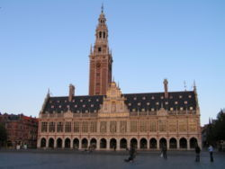 The venue for the cryptography Olympics is the Katholieke Universiteit Leuven in Belgium [--] this is its emblematic library.