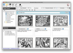 Celtx Storyboard tab view.