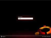 The Ubuntu 9.04 beta log in screen.