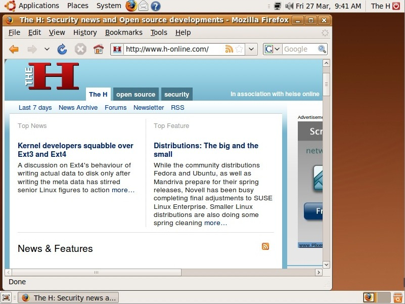 The Ubuntu 9.04 beta default desktop with Firefox.