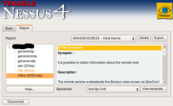 The Nessus 4 report interface.