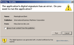 Error message triggered by expired certificate