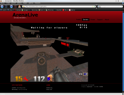 Free online shooter Arena Live being played in Firefox under Linux.