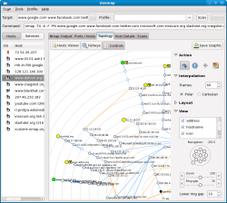 Zenmap's new network topology graphing mode.