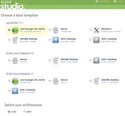 The SUSE Studio appliance creation interface.