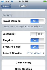 The Safari settings page under iPhone OS 3.1.