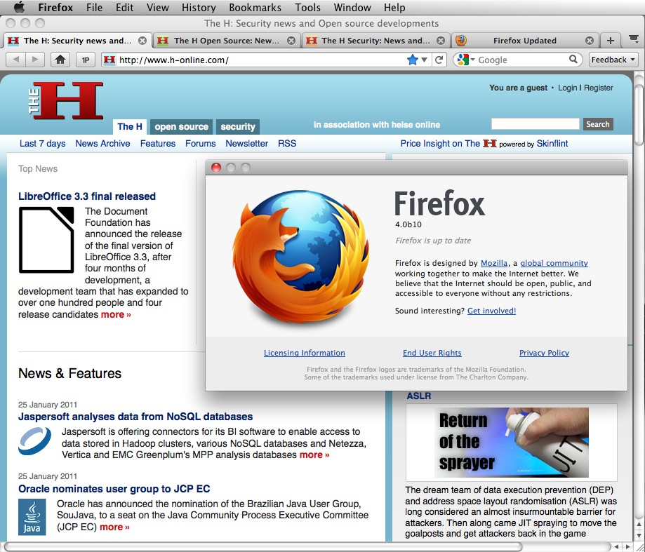 Firefox 4 Beta 10 on Mac OS X