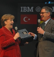 The German chancellor Angela Merkel and IBM boss Palmisano