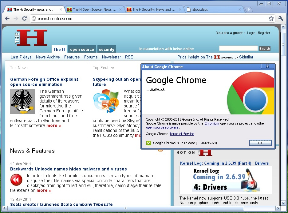 Google Chrome 11.0.696.68 on Windows XP