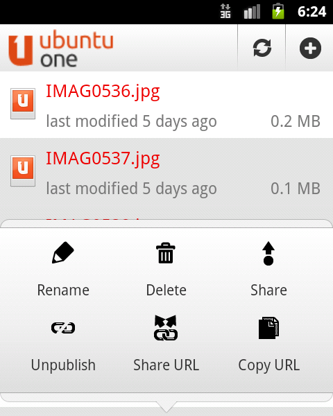 Sharing files on Ubuntu One using Android