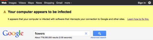 Google's malware warning screenshot