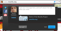 Mozilla Share screenshot