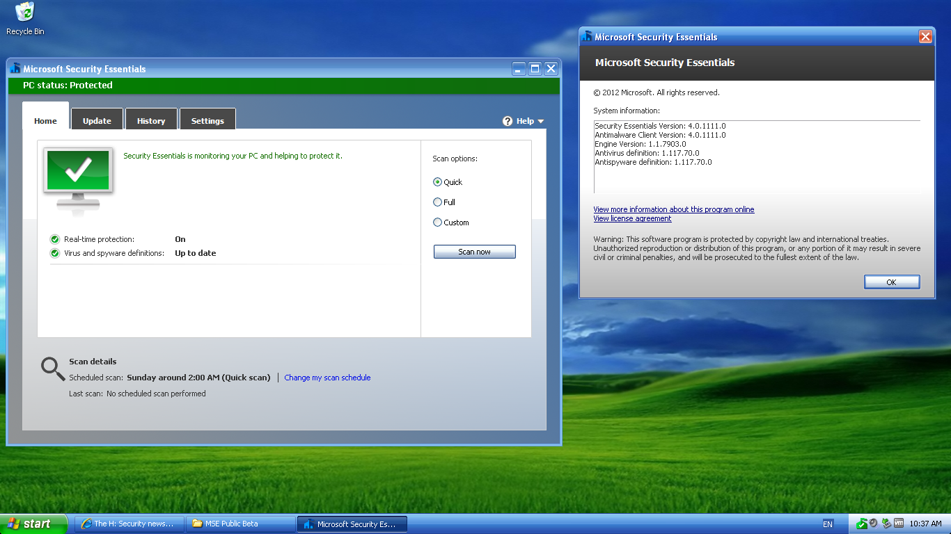Microsoft Security Essentials 4.0.1111.0