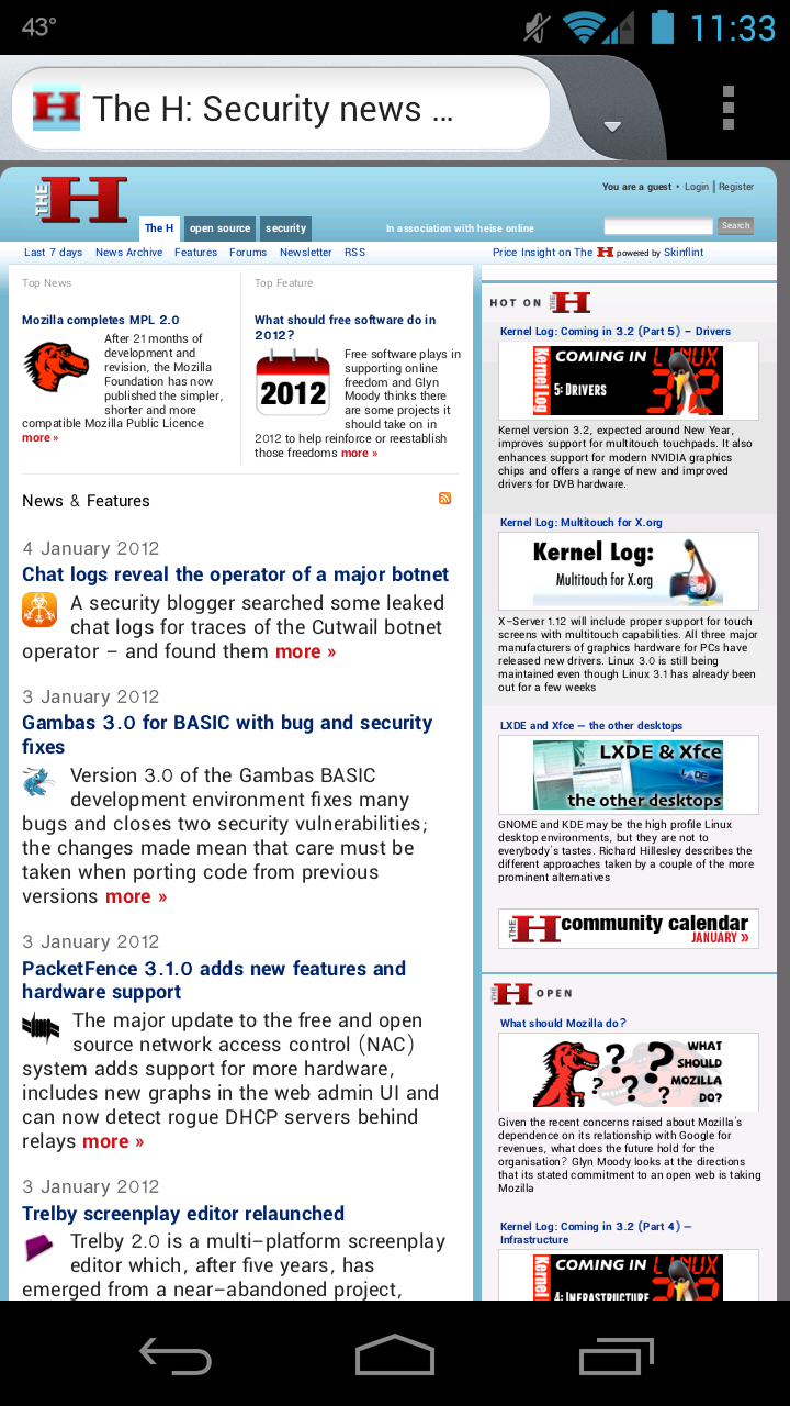 Firefox Aurora for Android screenshot