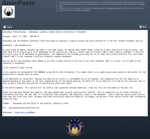 AnonPaste's press release on AnonPaste