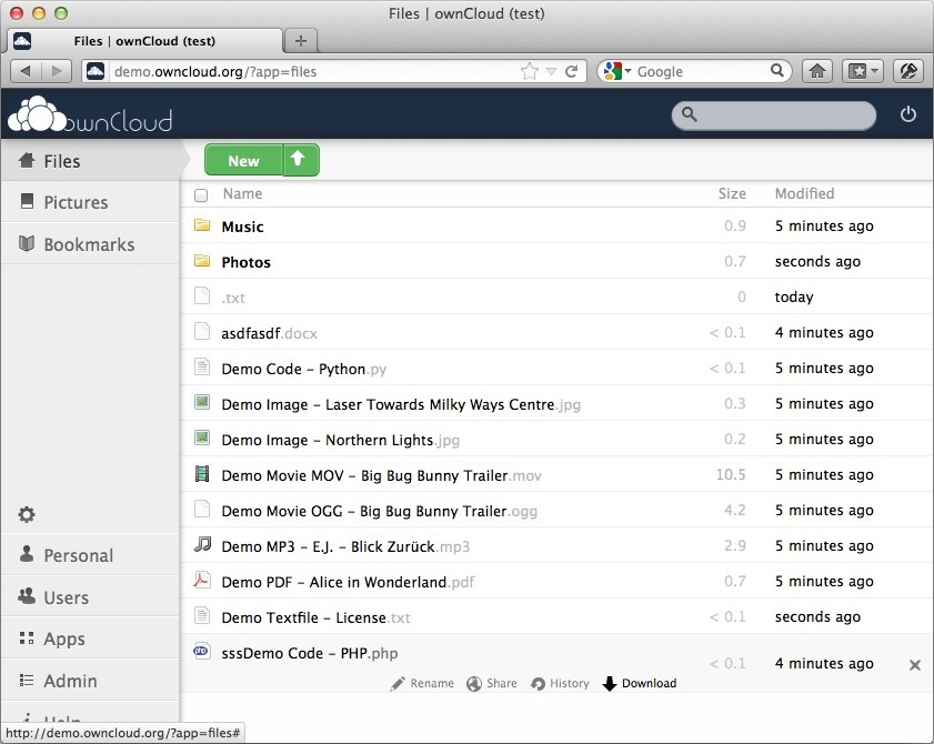 ownCloud demo screenshot