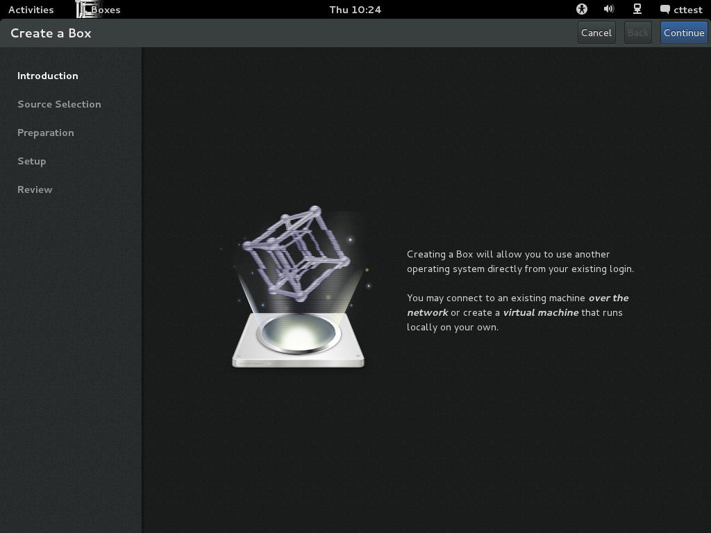 GNOME Boxes screenshot
