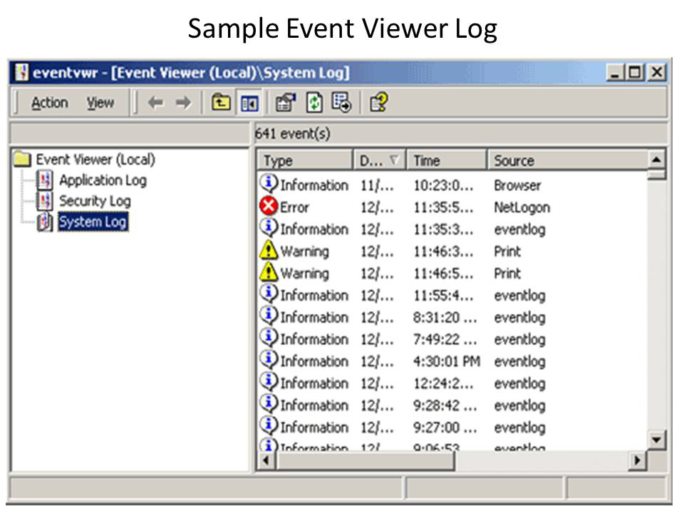 The Event Log Viewer