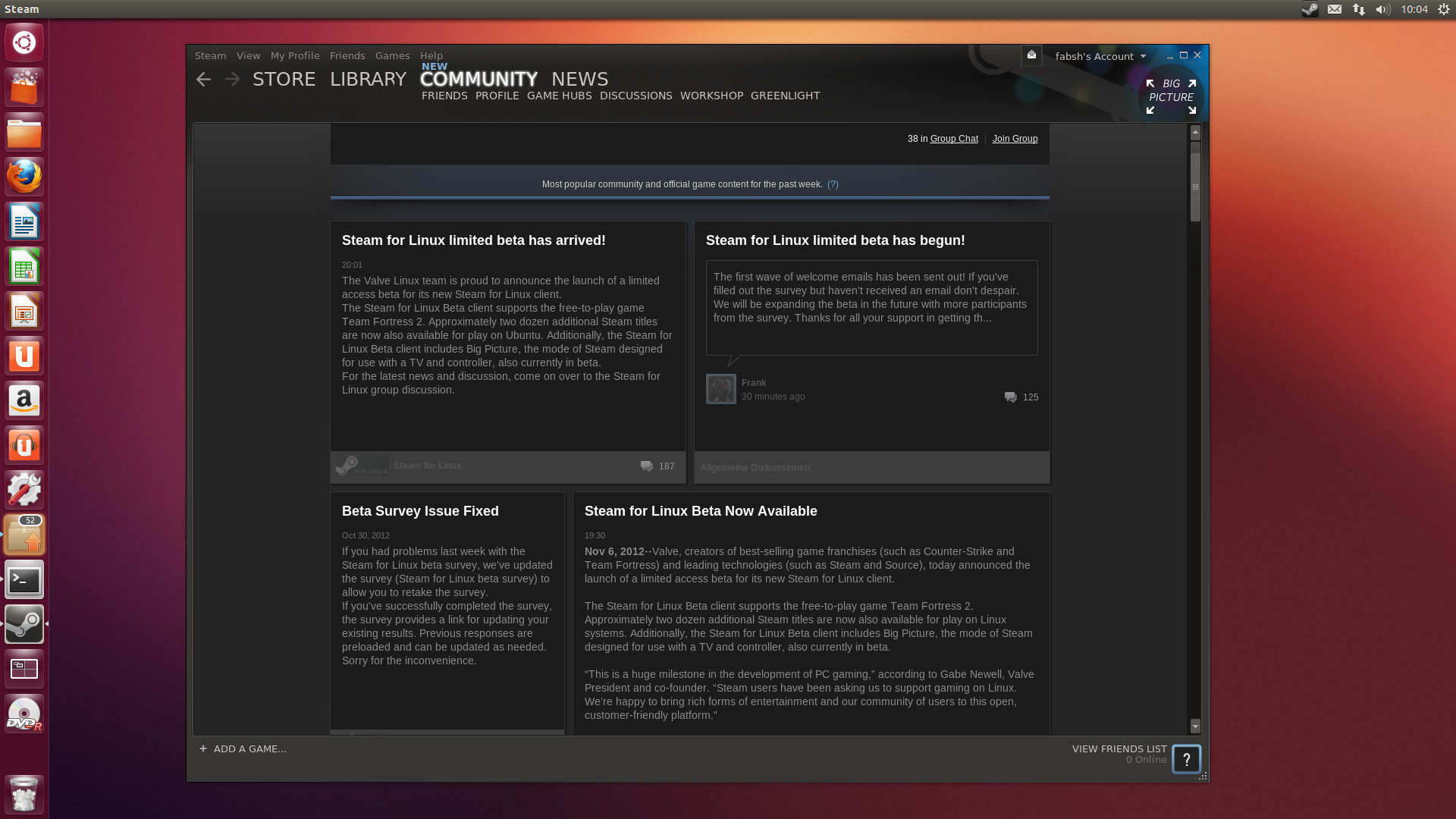 Steam for Linux screenshot