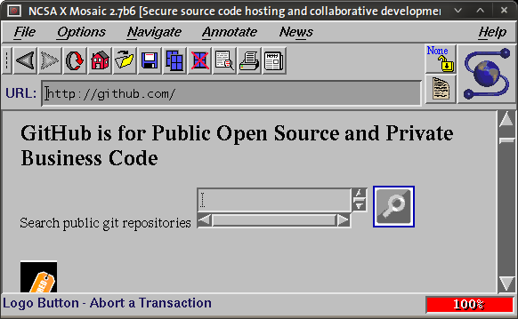 GitHub as seen with NCSA Mosaic