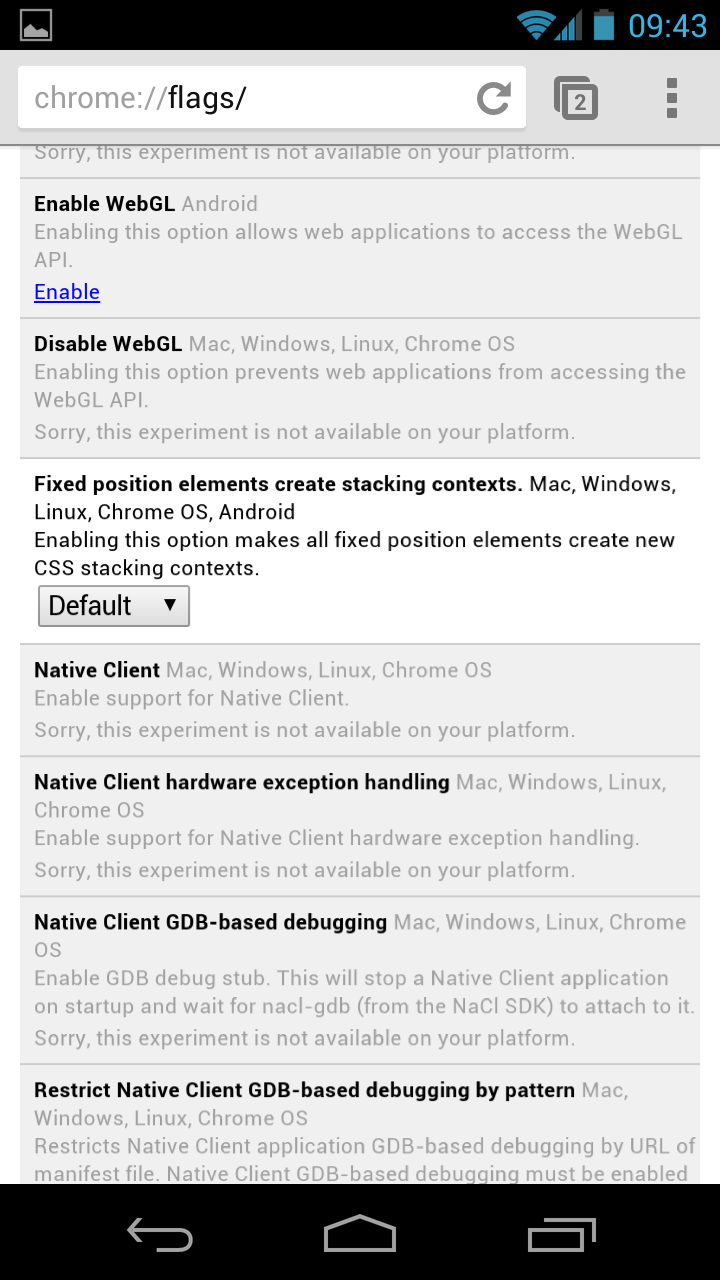 Experimental Chrome options