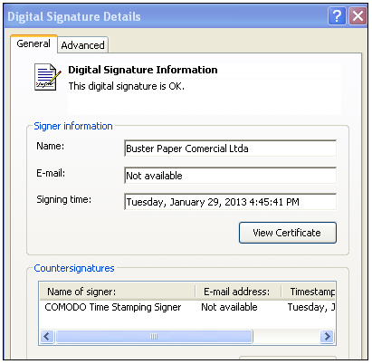 The malware's valid signature