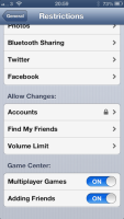 iOS6 settings restrictions