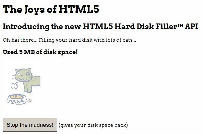 Filling the hard disk with cats